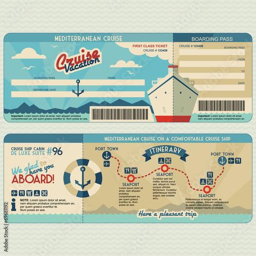 Cruise ship boarding pass design template Fototapeta