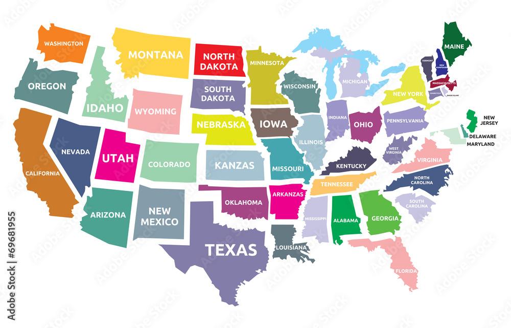 Fototapeta USA map with states