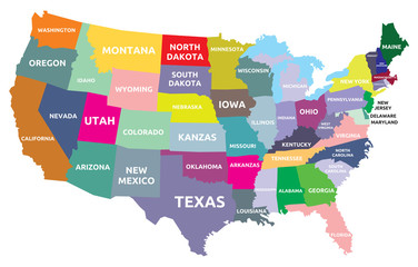 Fototapeta Mapy USA map with states