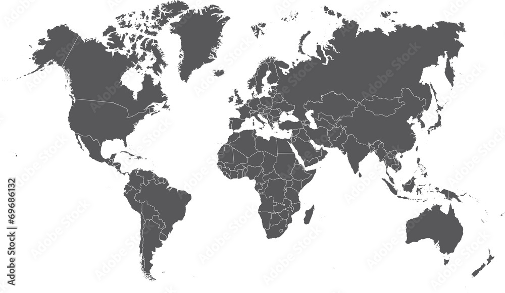 Fototapety, obrazy: Illustration of a Colored map of world
