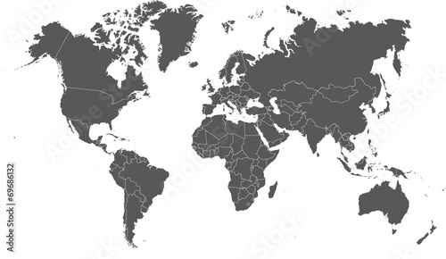 Fotografie, Tablou Illustration of a Colored map of world