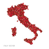 Fototapeta Dinusie - A vector outline of Italy in a pixel art style