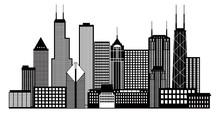 Chicago City Skyline Black And White Vector Illustration