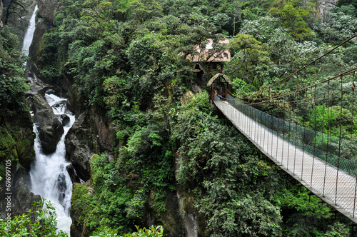 Suspended bridge in Banos Santa Agua, Ecuador