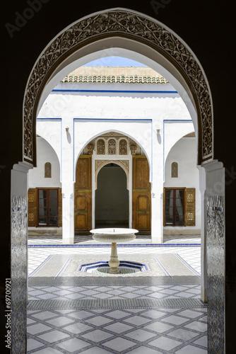 Poster Temple Interior of El Bahia Palace in Marrakesh, Morocco