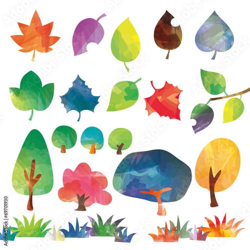 Láminas  木と葉のセット