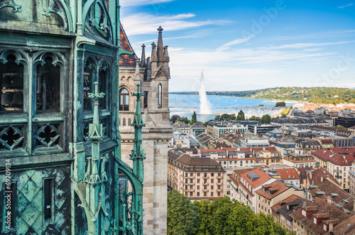 View of Geneva from Cathedral of Saint-Pierre, Switzerland Wallpaper Mural
