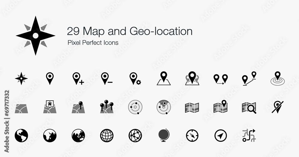 Fototapeta 29 Map and Geo-location Pixel Perfect Icons