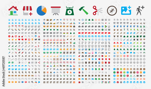 800 Premium Icons. Round corners. Flat colors. Pixel Perfect. Canvas Print