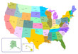 Colorful USA map with states and capital cities.
