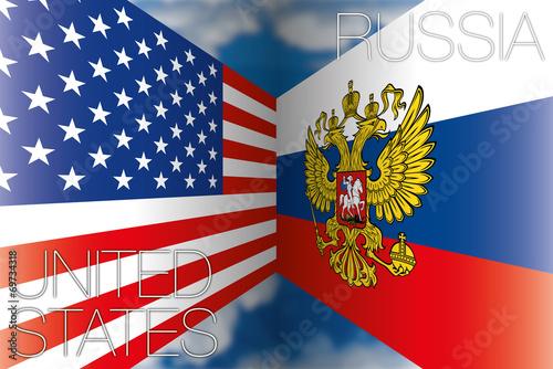 Fotografia, Obraz  usa vs russia flags