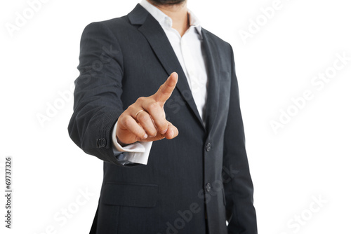 Fotografija  businessman pushing forefinger