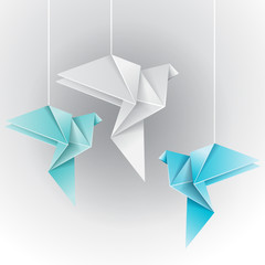 Fototapeta Japoński Origami different color dove