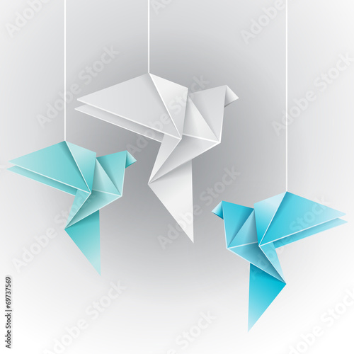 Origami different color dove Poster