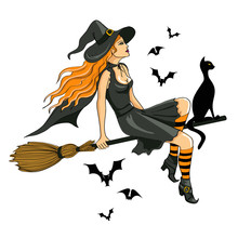 Beautiful Witch Sitting On The Broom