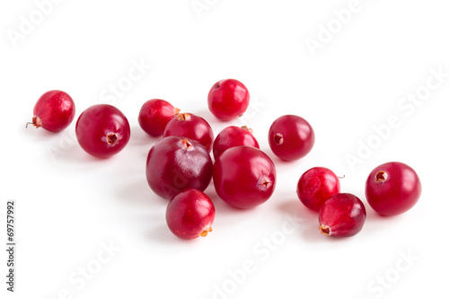 Fotografia  Cranberries isolated on white background.