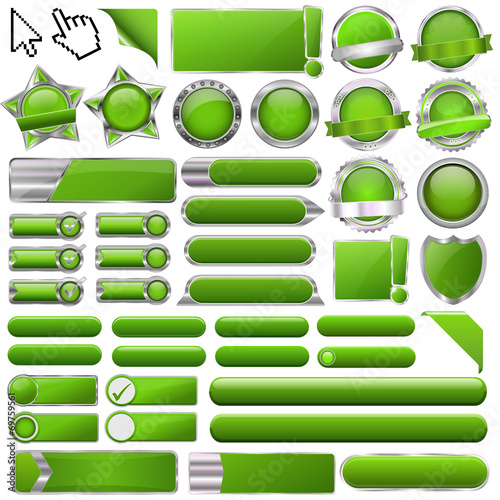 Poster  Collection of colorful green glossy 3d vector buttons