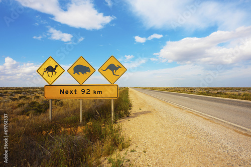 Poster Australië Australian Animals Road Sign