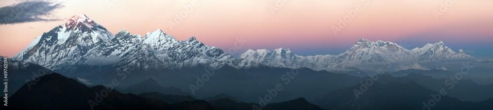 Fototapety, obrazy: Evening panoramic view of Dhaulagiri and Annapurna