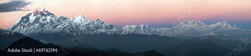 Spoed Foto op Canvas Nepal Evening panoramic view of Dhaulagiri and Annapurna