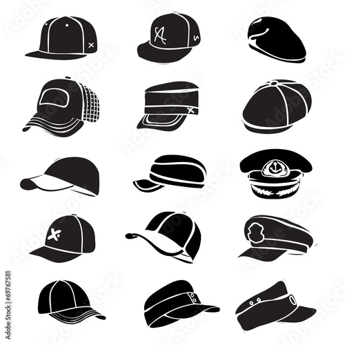 Photo  cap set isolated on white hat icon vector baseball rap