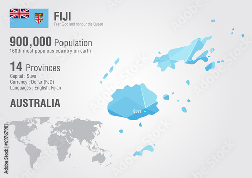 Fiji World Map With A Pixel Diamond Texture Buy This