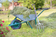 Wheelbarrow Full With Hay And Pitchfork Leaned On