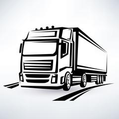 Fototapetaeuropian truck outlined vector symbol