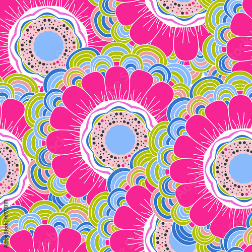 Vector seamless hand-drawn pattern with flowers and leaves - 69783111