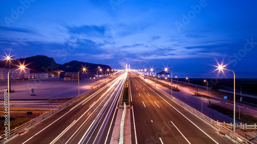 Highway at night in long exposure