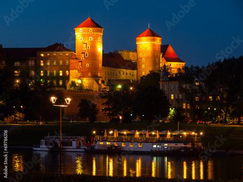 obraz PCV Zamek Królewski na Wawelu nocą