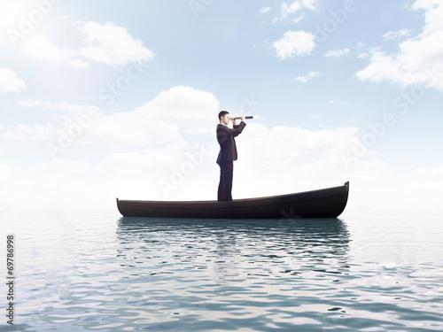 Fototapeta businessman with telescope obraz