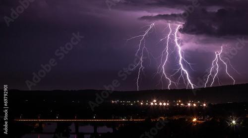 Spoed Foto op Canvas Onweer Lightning storm