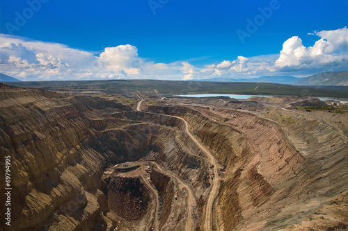 Fotografia, Obraz  Aerial view to the diamond open mine in Aikhal town, Sakha Yakut