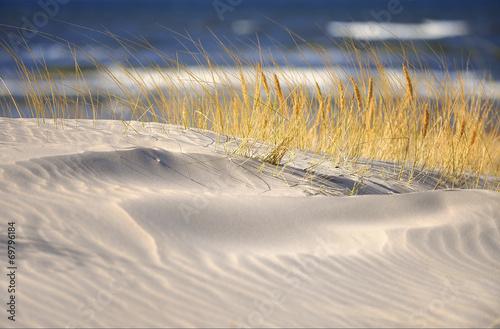 Fotobehang - Morze, piękna plaża o wschodzie słońca