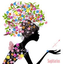 Zodiac Sign Sagittarius. Fashion Girl