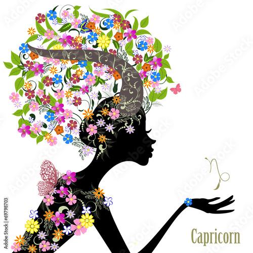 Fototapety, obrazy: Zodiac sign capricorn. fashion girl