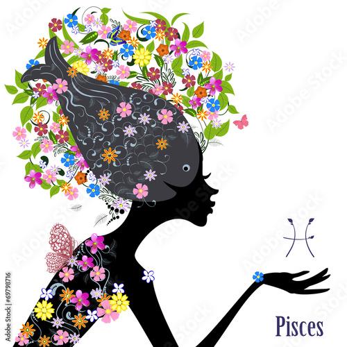 Fototapety, obrazy: Zodiac sign pisces. fashion girl