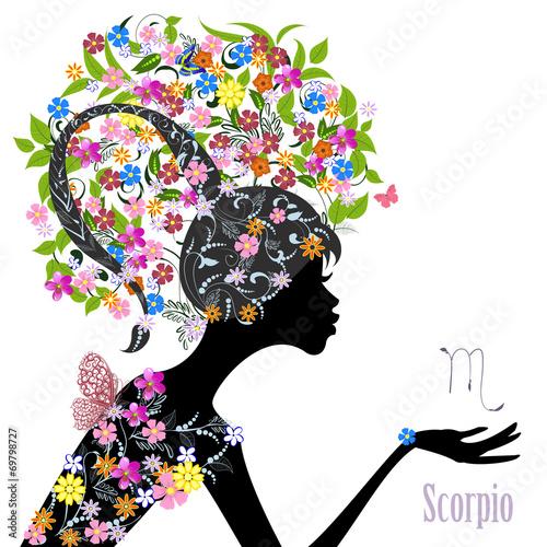 Fototapety, obrazy: Zodiac sign scorpio. fashion girl