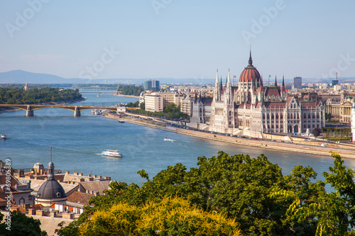 Hungarian Parliament building in Budapest, Hungary on a sunny da Poster
