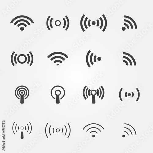 Fotomural  Wireless icons set - vector WiFi symbols
