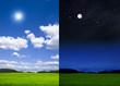 Landschaft bei Tag und bei Nacht