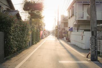 夕暮れの道路