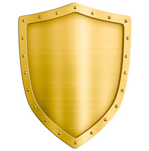 Golden Metal Shield Isolated O...