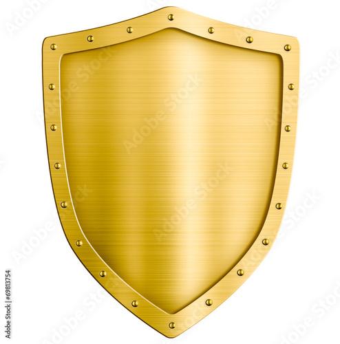 Fototapeta golden metal shield isolated on white