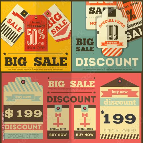 Poster Affiche vintage Sale Tags