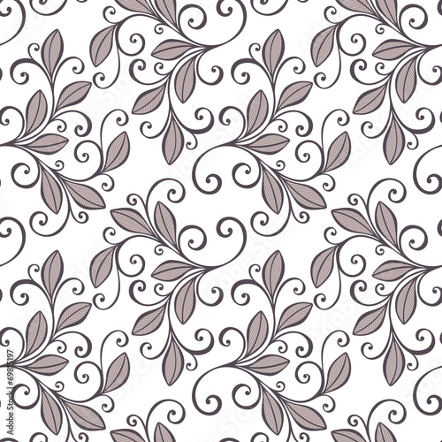 Seamless Floral Pattern (Vector). Hand Drawn Texture with Leaves