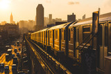 Fototapeta Nowy Jork - Subway Train in New York at Sunset