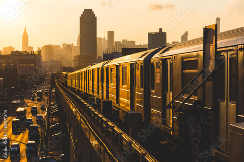 Subway Train in New York at Sunset Canvas Print