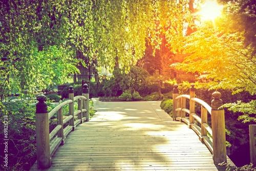 fototapeta na szkło Most sceniczny Ogród